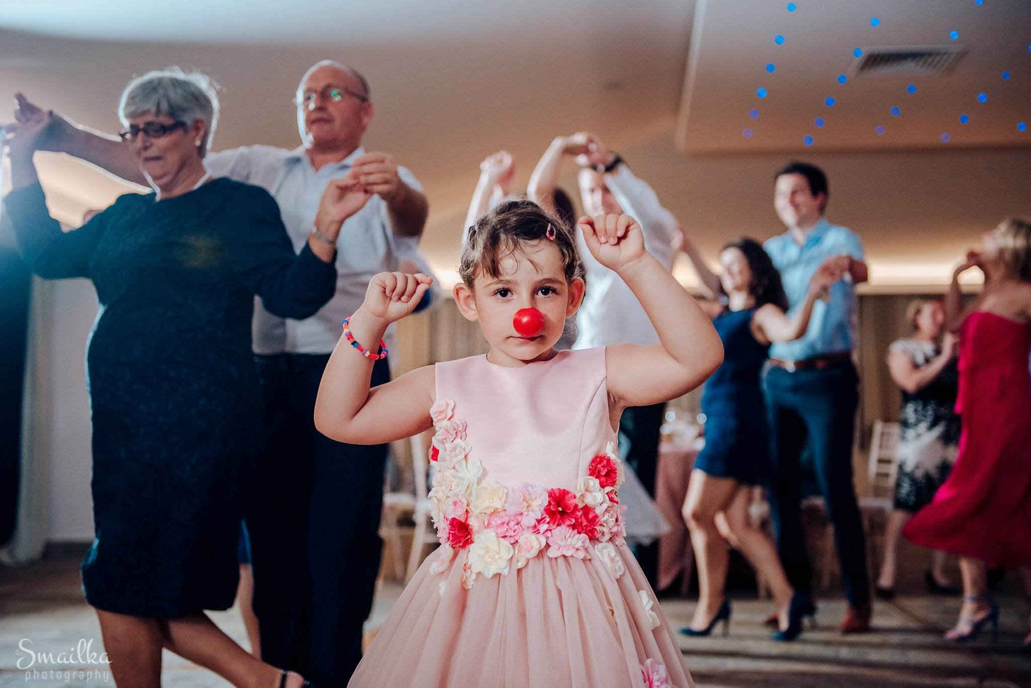 A child with a clown nose at a wedding at Black Sea Rama