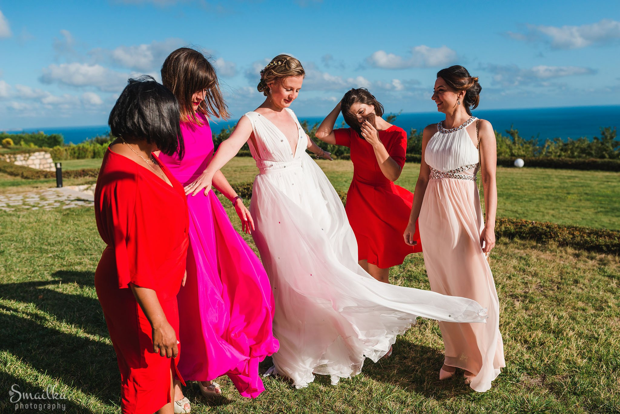 Bride and her maids-of-honor at the scenic Black Sea Rama