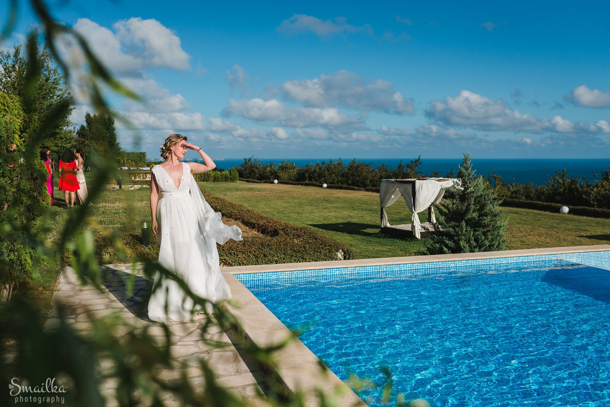 Bride near the swimming pool at Black Sea Rama