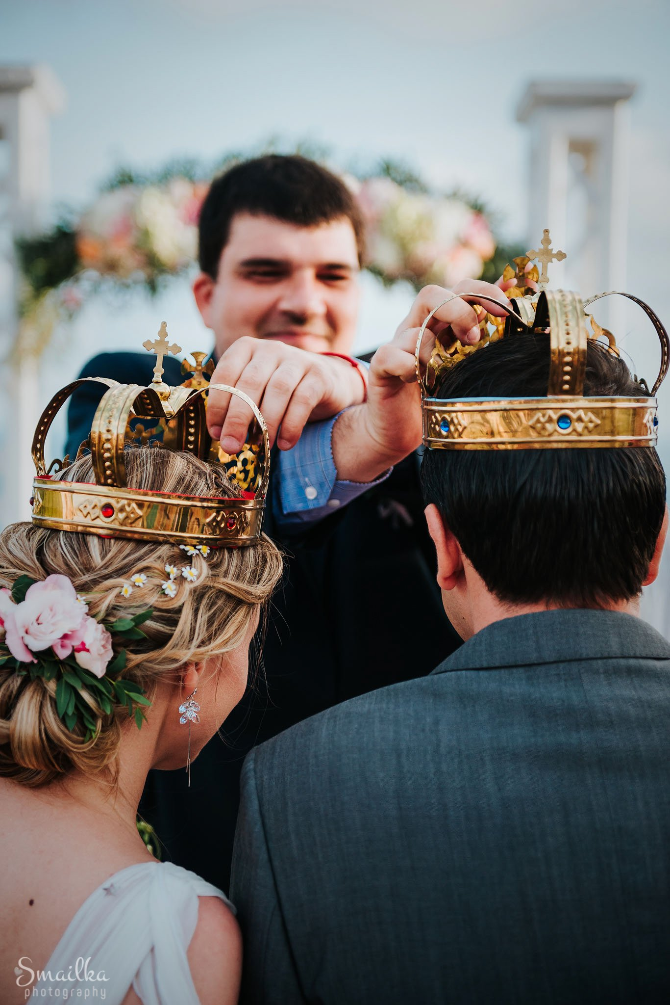 Wedding crowns on the bride and groom at Black Sea Rama