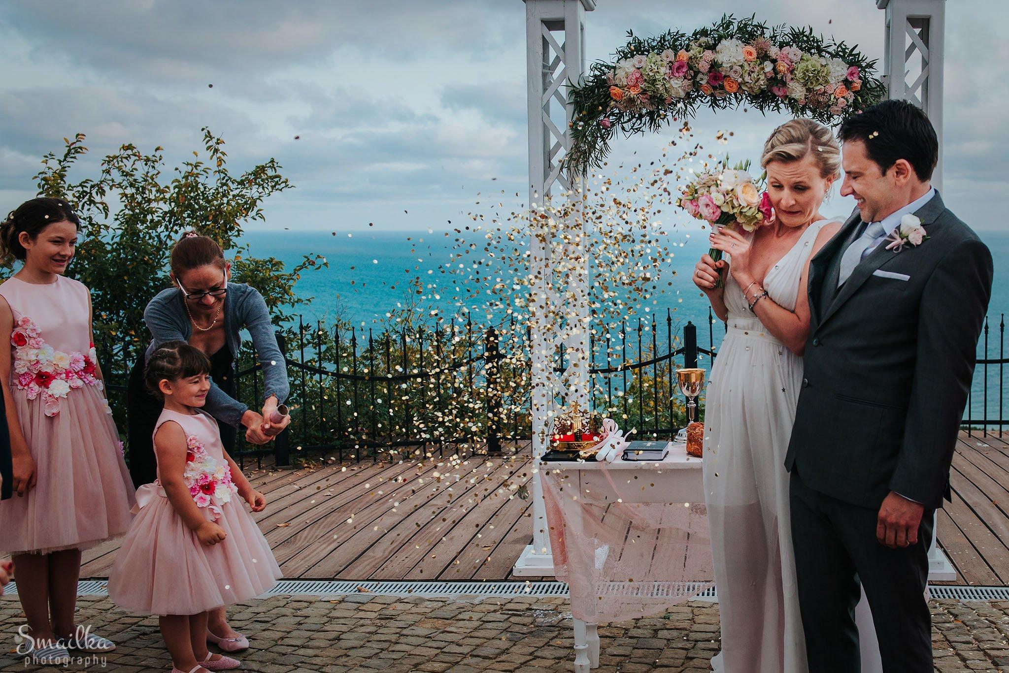 Ana and Boz confetti celebration at Black Sea Rama