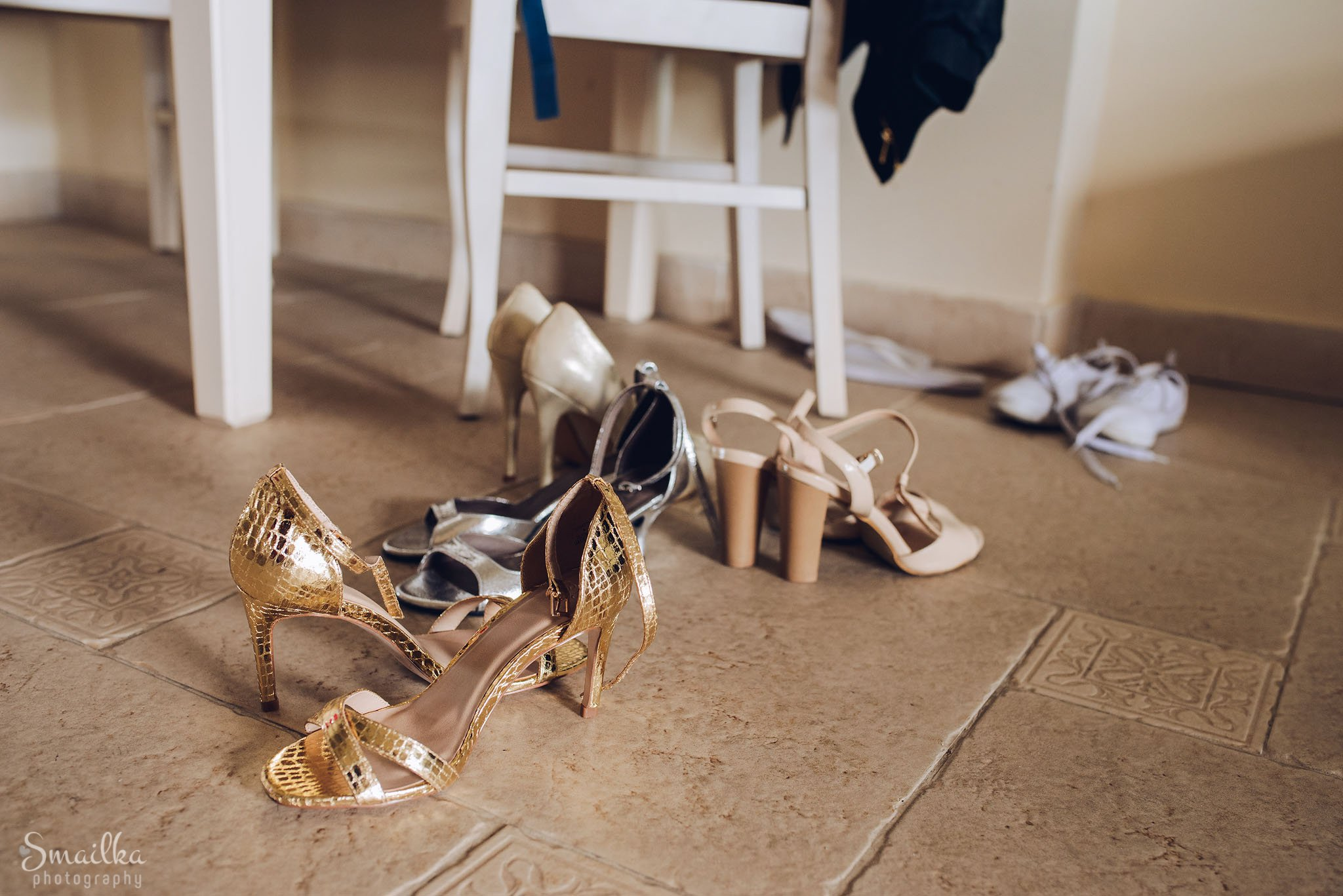 Scattered wedding shoes